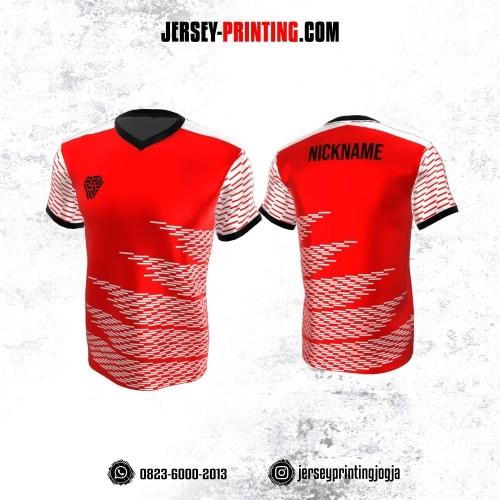 Jersey Atasan Badminton Volly Lari Futsal Merah Putih Motif Strip
