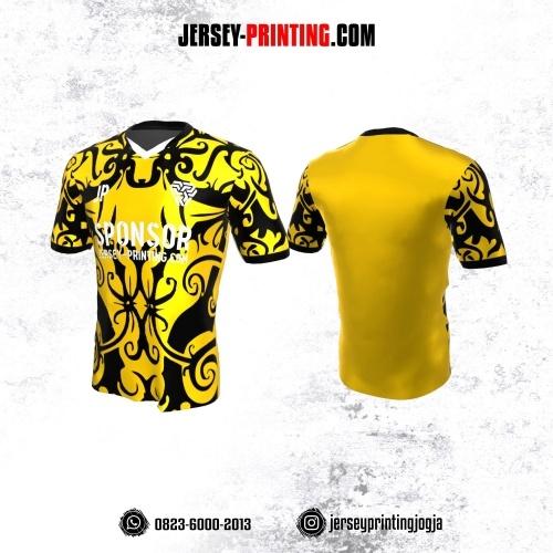 Jersey Atasan Badminton Volly Lari Futsal Motif Batik Kuning Hitam