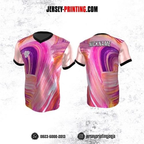 Jersey Atasan Badminton Volly Lari Futsal Motif Brush Pink Ungu Putih