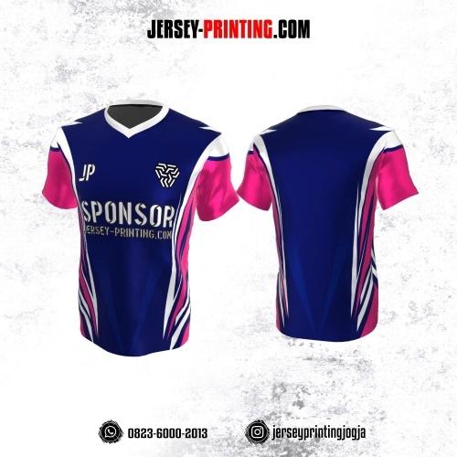 Jersey Atasan Badminton Volly Lari Futsal Navy Corak Pink Putih