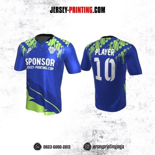 Jersey Atasan Badminton Volly Lari Futsal Navy Motif Batik Parang Hijau