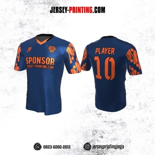Jersey Atasan Badminton Volly Lari Futsal Navy Motif Batik Parang Orange