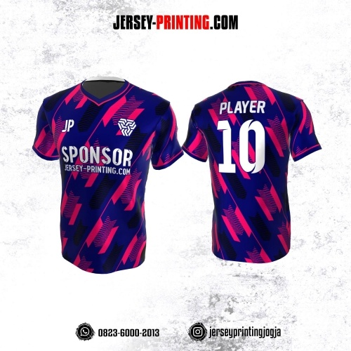 Jersey Atasan Badminton Volly Lari Futsal Navy Motif Strip Pink Hitam