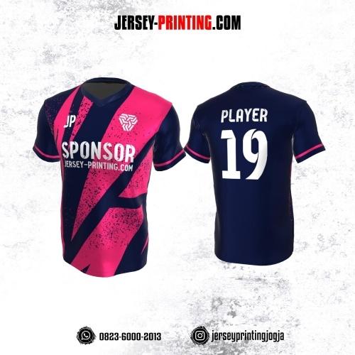 Jersey Atasan Badminton Volly Lari Futsal Navy Pink Motif Bercak