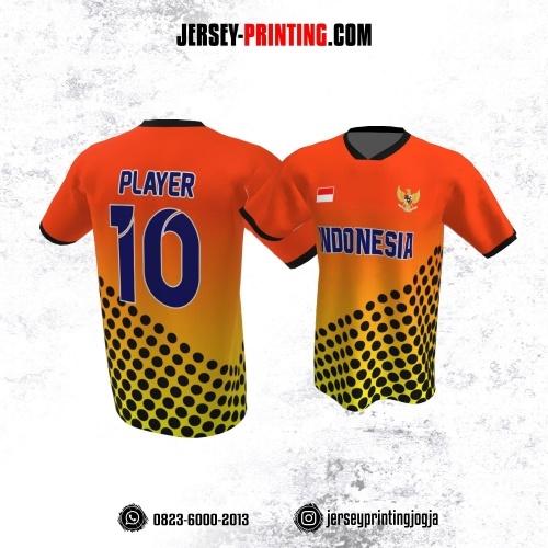 Jersey Atasan Badminton Volly Lari Futsal Orange Gradasi Kuning Motif Polkadot Hitam