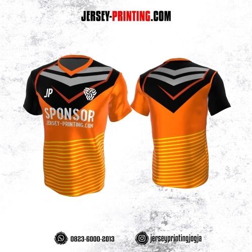 Jersey Atasan Badminton Volly Lari Futsal Orange Hitam Abu Motif Garis Kuning