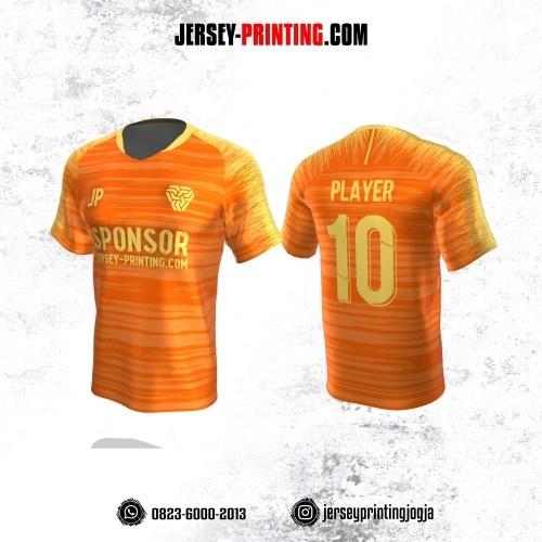 Jersey Atasan Badminton Volly Lari Futsal Orange Kuning Motif Brush