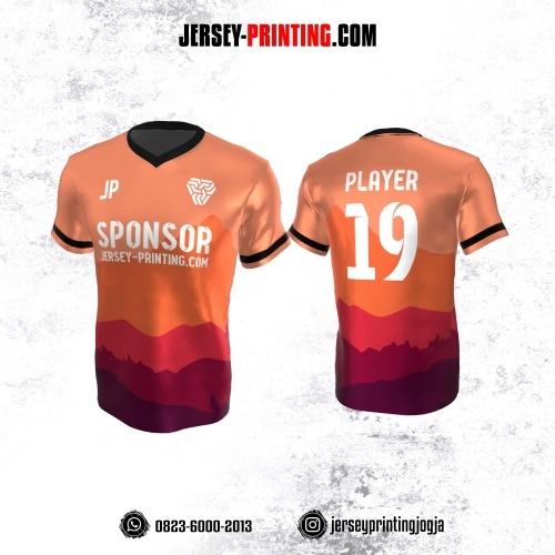 Jersey Atasan Badminton Volly Lari Futsal Orange Merah Ungu Motif Pemandangan