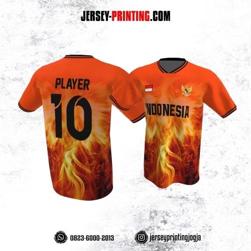 Jersey Atasan Badminton Volly Lari Futsal Orange Motif Api