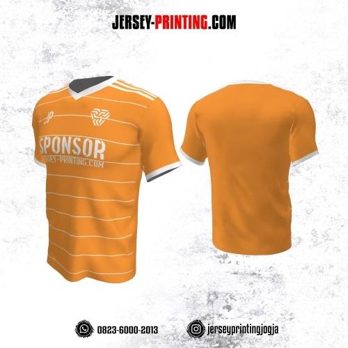 Jersey Atasan Badminton Volly Lari Futsal Orange Motif Stripe Putih