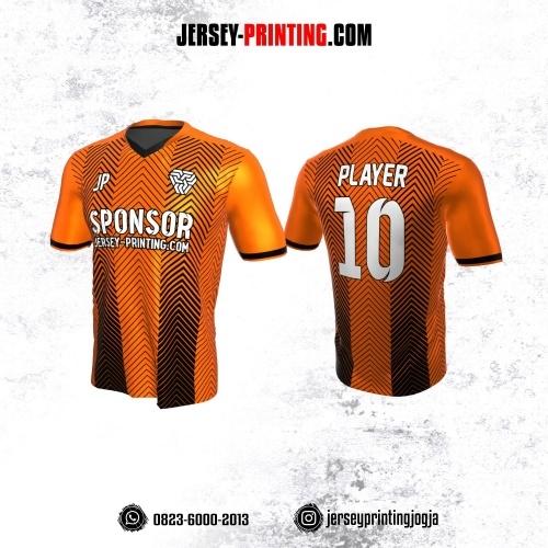 Jersey Atasan Badminton Volly Lari Futsal Orange Motif Zigzag Hitam
