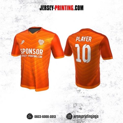 Jersey Atasan Badminton Volly Lari Futsal Orange Putih Motif Garis