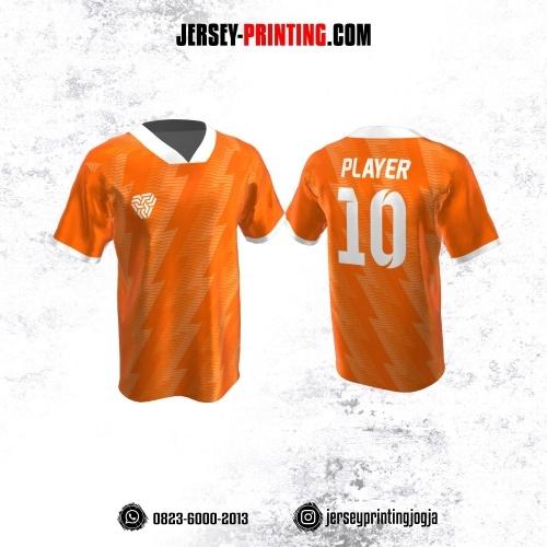 Jersey Atasan Badminton Volly Lari Futsal Orange Putih Motif Kilat