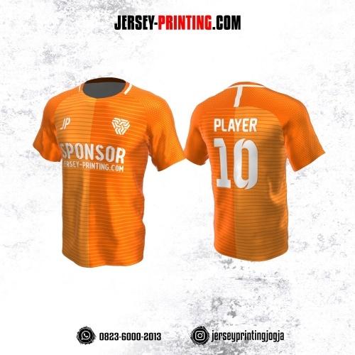 Jersey Atasan Badminton Volly Lari Futsal Orange Putih Motif Stripe