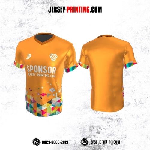 Jersey Atasan Badminton Volly Lari Futsal Orange Tosca Pink Motif Geometris