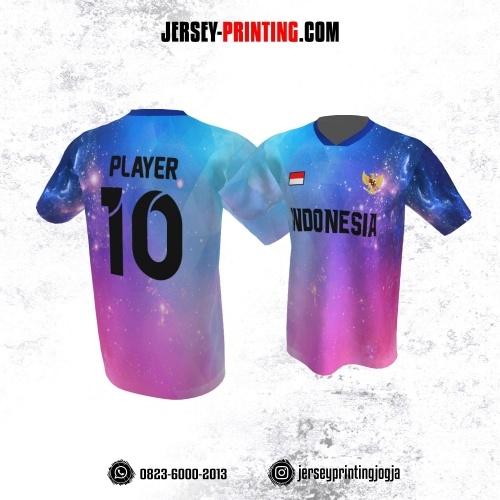 Jersey Atasan Badminton Volly Lari Futsal Pink Biru Ungu Motif Langit Malam
