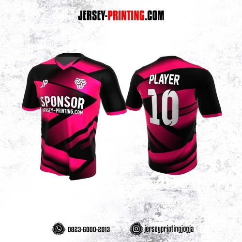 Jersey Atasan Badminton Volly Lari Futsal Pink Corak Hitam