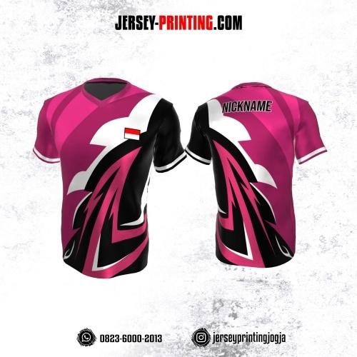 Jersey Atasan Badminton Volly Lari Futsal Pink Corak Hitam Putih