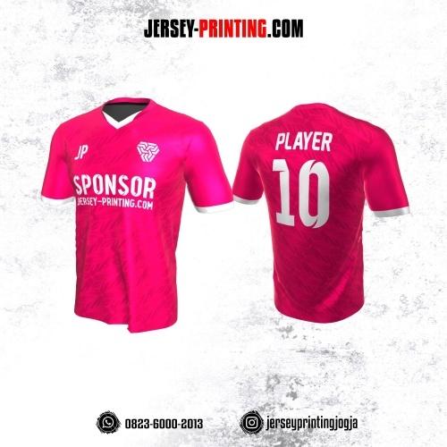 Jersey Atasan Badminton Volly Lari Futsal Pink Fuchsia Putih Motif Seamless