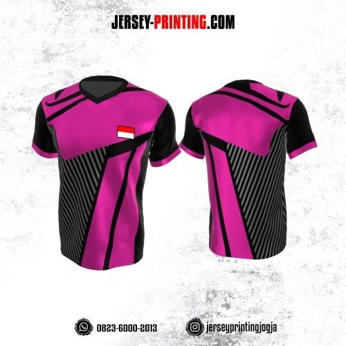 Jersey Atasan Badminton Volly Lari Futsal Pink Hitam Motif Garis Abu-abu