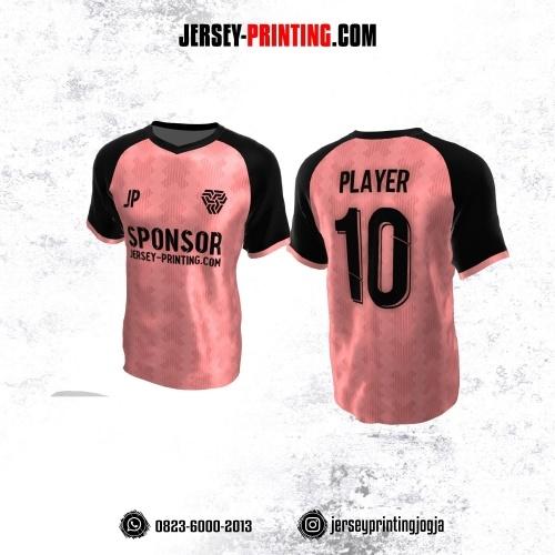 Jersey Atasan Badminton Volly Lari Futsal Pink Hitam Motif Seamless