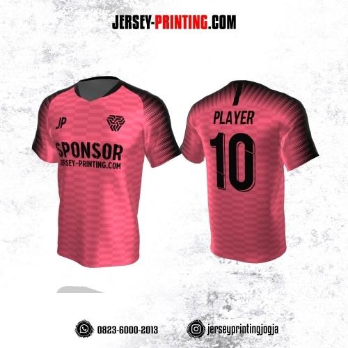 Jersey Atasan Badminton Volly Lari Futsal Pink Hitam Motif Strip
