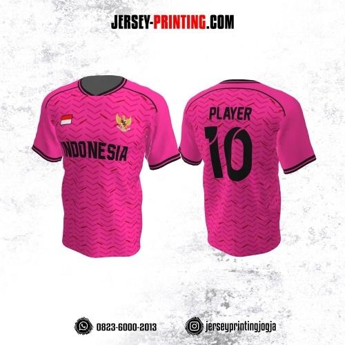 Jersey Atasan Badminton Volly Lari Futsal Pink Merah Hitam Motif Strip