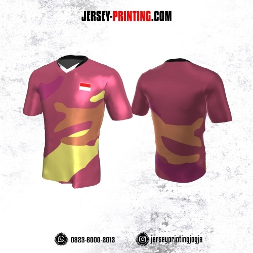 Jersey Atasan Badminton Volly Lari Futsal Pink Motif Abstrak Kuning Coklat