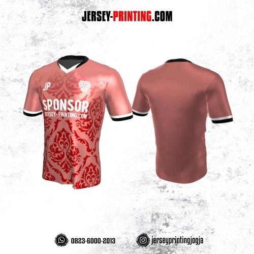 Jersey Atasan Badminton Volly Lari Futsal Pink Motif Batik Merah