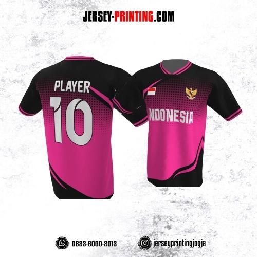 Jersey Atasan Badminton Volly Lari Futsal Pink Motif Polkadot Hitam