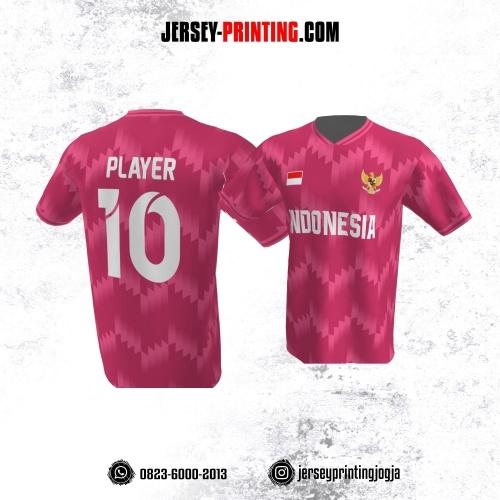 Jersey Atasan Badminton Volly Lari Futsal Pink Motif Zigzag
