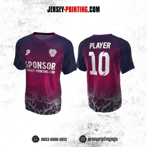 Jersey Atasan Badminton Volly Lari Futsal Pink Navy Putih Motif Batik