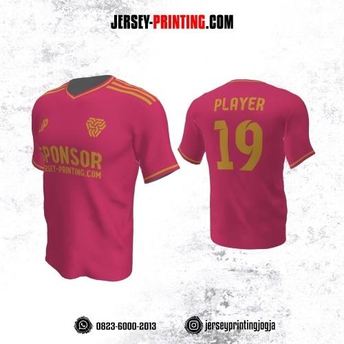 Jersey Atasan Badminton Volly Lari Futsal Pink Strip Emas