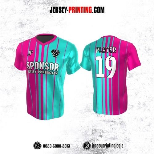 Jersey Atasan Badminton Volly Lari Futsal Pink Tosca Motif Garis