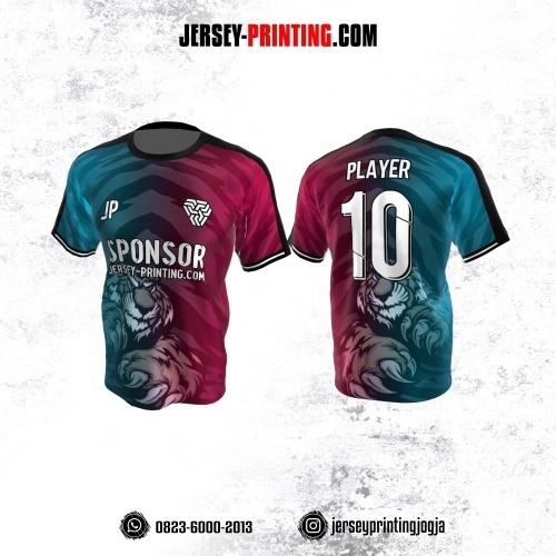 Jersey Atasan Badminton Volly Lari Futsal Pink Tosca Motif Tiger