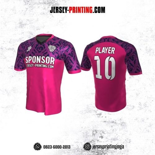 Jersey Atasan Badminton Volly Lari Futsal Pink Ungu Motif Batik Dayak