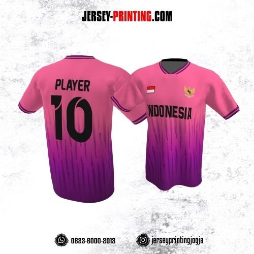 Jersey Atasan Badminton Volly Lari Futsal Pink Ungu Motif Loreng