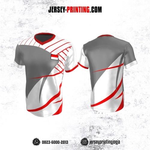 Jersey Atasan Badminton Volly Lari Futsal Putih Abu-abu Motif Garis Merah