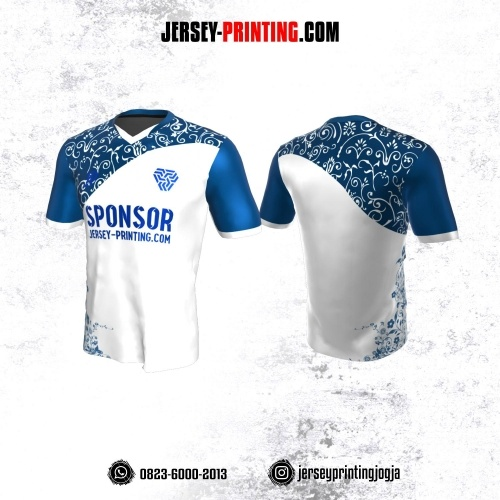 Jersey Atasan Badminton Volly Lari Futsal Putih Biru Motif Batik Floral