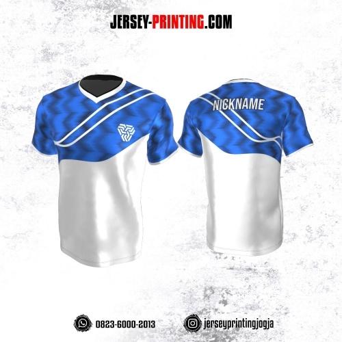 Jersey Atasan Badminton Volly Lari Futsal Putih Biru Motif Zigzag
