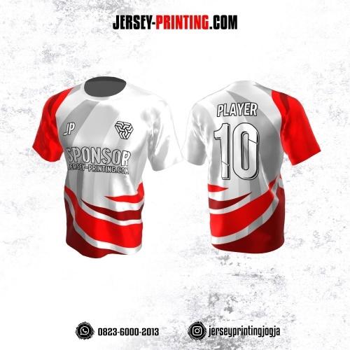 Jersey Atasan Badminton Volly Lari Futsal Putih Corak Merah Abu-abu