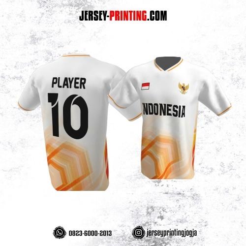 Jersey Atasan Badminton Volly Lari Futsal Putih Corak Orange