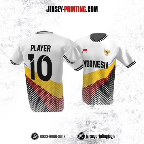 Jersey Atasan Badminton Volly Lari Futsal Putih Hitam Merah Kuning Motif Kotak-kotak