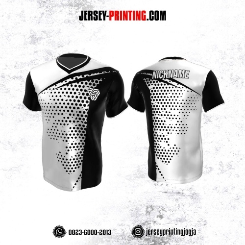 Jersey Atasan Badminton Volly Lari Futsal Putih Hitam Motif Hexagon