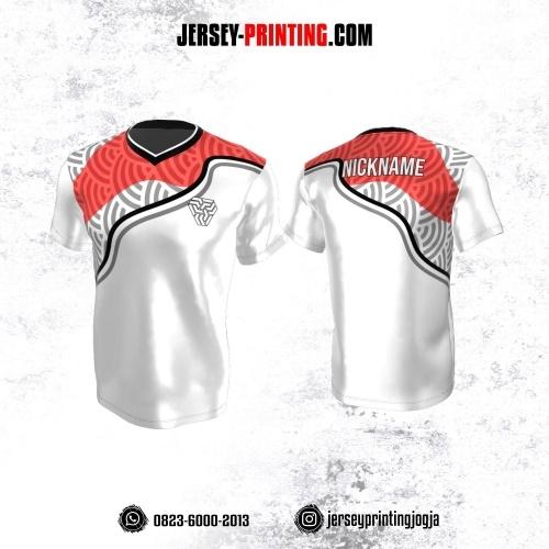 Jersey Atasan Badminton Volly Lari Futsal Putih Merah Abu-abu Motif Abstrak