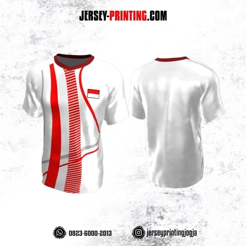 Jersey Atasan Badminton Volly Lari Futsal Putih Merah Abu-abu Motif Strip