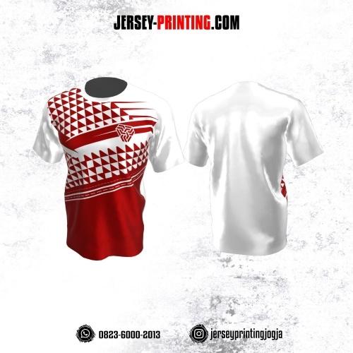 Jersey Atasan Badminton Volly Lari Futsal Putih Merah Motif Geometris