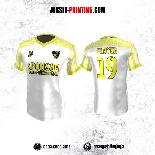 Jersey Atasan Badminton Volly Lari Futsal Putih Motif Abstrak Kuning