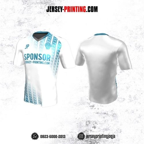 Jersey Atasan Badminton Volly Lari Futsal Putih Motif Batik Parang Biru