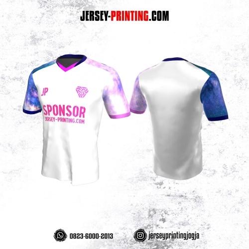 Jersey Atasan Badminton Volly Lari Futsal Putih Motif Galaxy Pink Biru